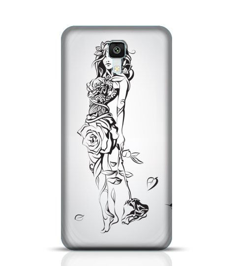 line drawing girl flowers mobile case