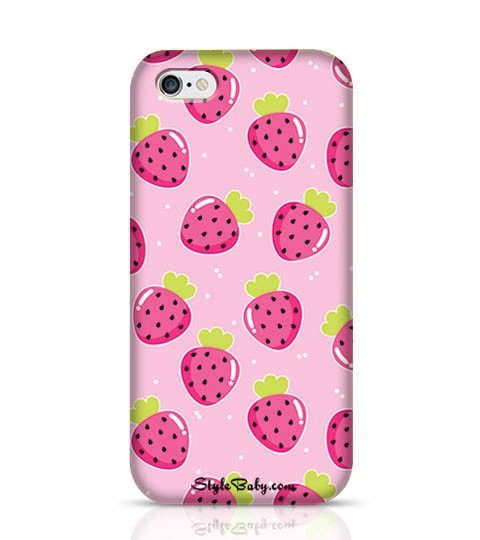 11 Strawberry with Pink Background Mobile Phone Case